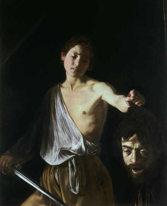 Davi com a Cabeça de Golias (1600) de Caravaggio | Tela para Quadro na  Santhatela