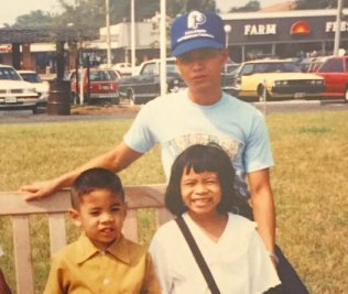 How to Forgive: Mike, Marrianne, and their Uncle Romelo in 1992.