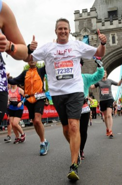 Jeff Muddell crosses the Tower Bridge in the London Marathon in April 2019. Photo provided