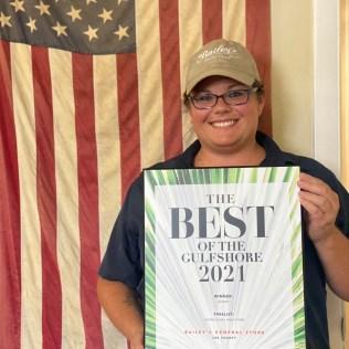 Bakery Manager Ashley Jennings with the award