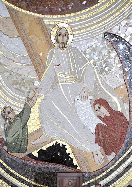 Santuário de São João Paulo II, Cracóvia, Polónia, pormenor do mosaico da Ressureição de Cristo