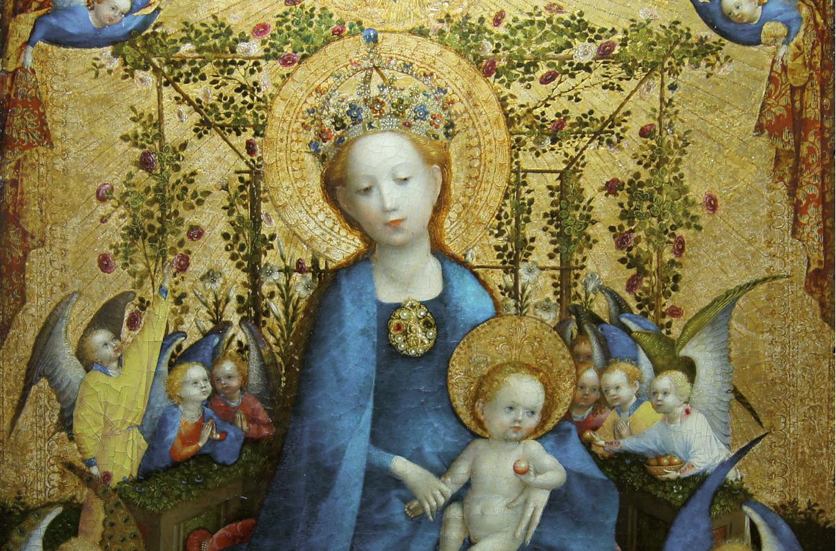 Stefan Lochner, Nossa Senhora do Roseiral, pintura sobre madeira, 1448