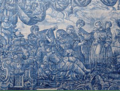 Milagre do pé cortado – Painel de azulejos Interior da igreja
