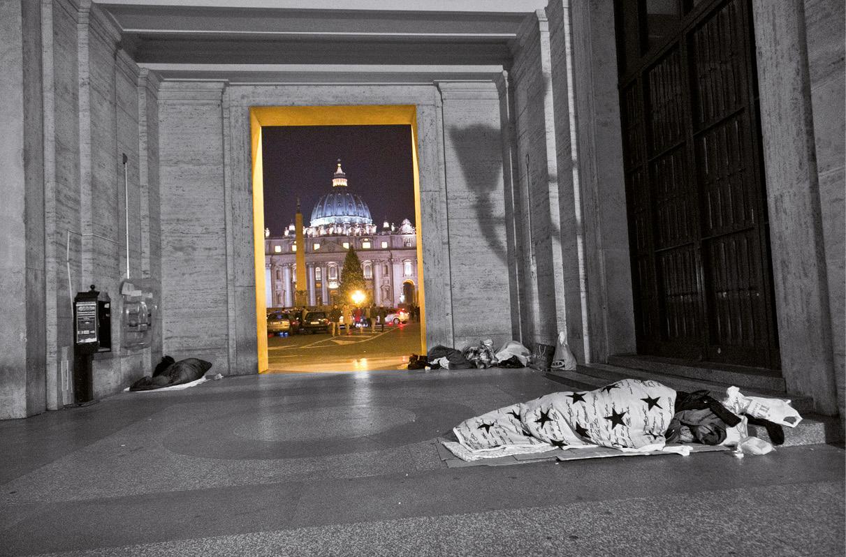 Sem abrigo dormindo às portas da praça de S. Pedro