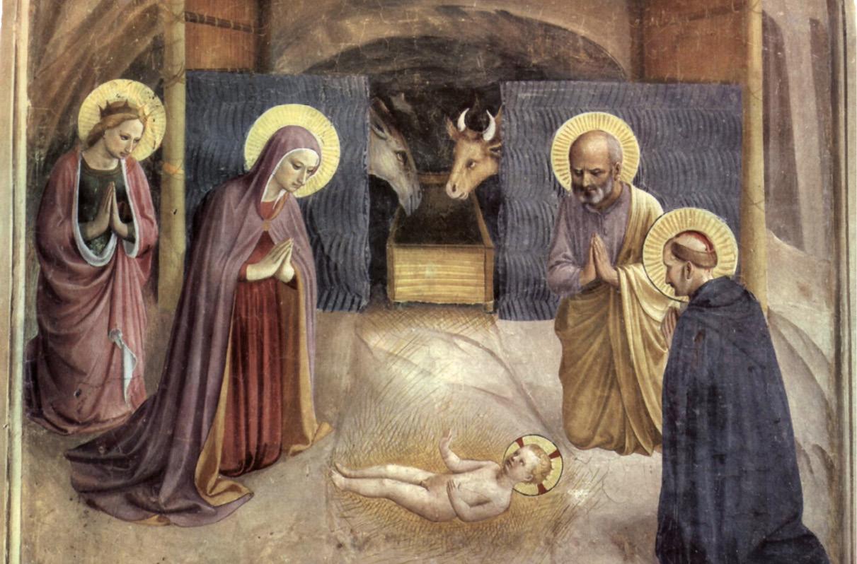 Adoração do Menino, fresco de Fra Angelico, sec. XV, no museu de S. Marcos, Florença.