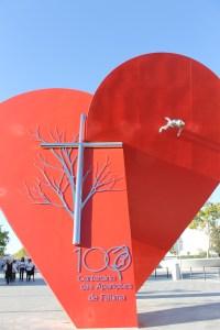 Fátima, escultura comemorativa da visita do Papa Francisco nos 100 anos das aparições, da autoria de Fernando Crespo, Coimbra