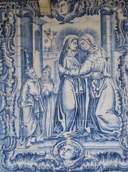 A visitação de Nossa Senhora a Santa Isabel, painel de azulejos, anexos da igreja de Santo António dos Olivais, Coimbra. Foto MSA.
