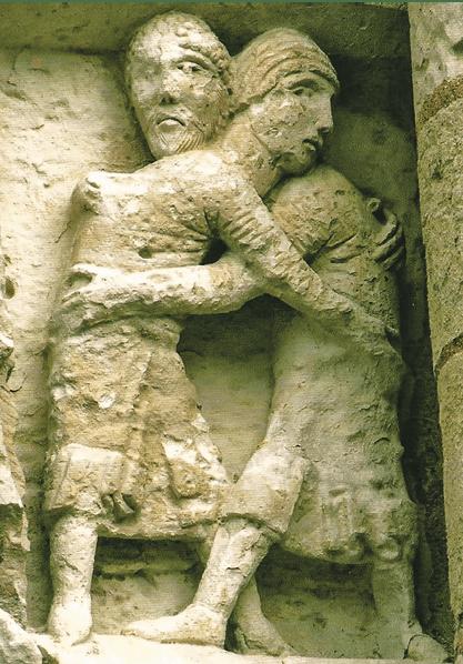A reconciliação − paz com Deus e Paz com os homens − valor apontado à Europa. Escultura do baptistério de Poitiers.