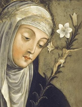 """Catarina de Sena (1347- 1380), doutora da Igreja e padroeira da Europa, foi conselheira espiritual de muitas pessoas, inclusive o Papa Gregório XI, que residia em Avinhão e que foi exortado, """"enérgica e eficazmente"""" a regressar a Roma. Procurou ativamente a reforma da Igreja e a Paz."""