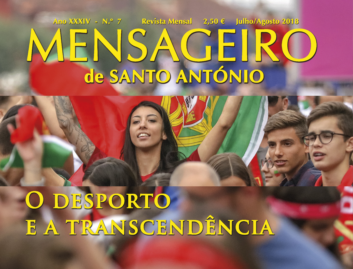 "Capa do ""Mensageiro de Santo António"" julho/agosto 2018 modificada."