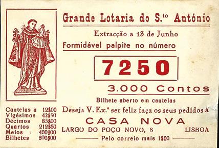 Anúncio da lotaria de Santo António, MA.ESP.DOC.0065