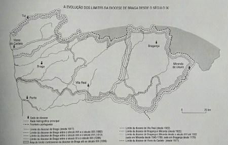 Evolução dos limites da diocese de Braga, desde o século IX. Fonte: Adaptado de João Francisco Marques, Poder Eclesiástico e Implantação Regional - Os limites do Arcebispado Bracarense através dos tempos, 1999.