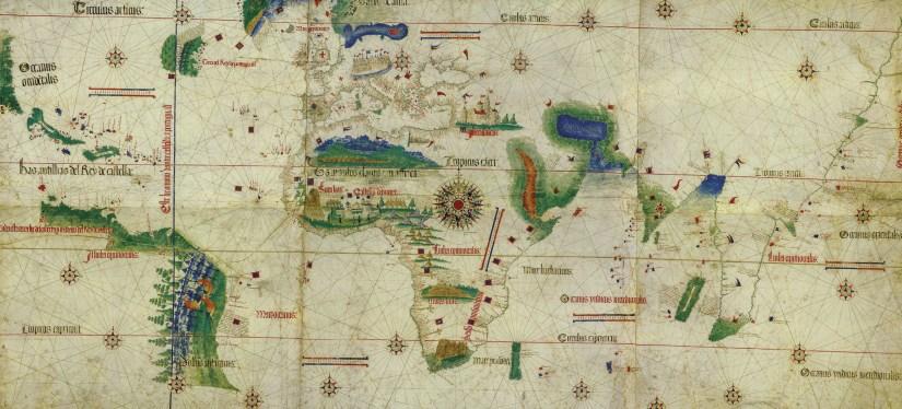 Planisfério de Cantino, completado, em 1502, por um cartógrafo português desconhecido, https://commons.wikimedia.org/.