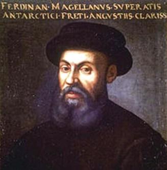 """""""Fernando de Magalhães, que superou os famosos estreitos do Sul"""". Retrato anónimo de Fernão de Magalhães, sec. XVI ou XVII."""