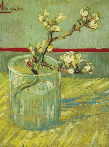 Copo com ramo de amendoeira em flor, óleo sobre tela. Vincent van Gogh, março 1888
