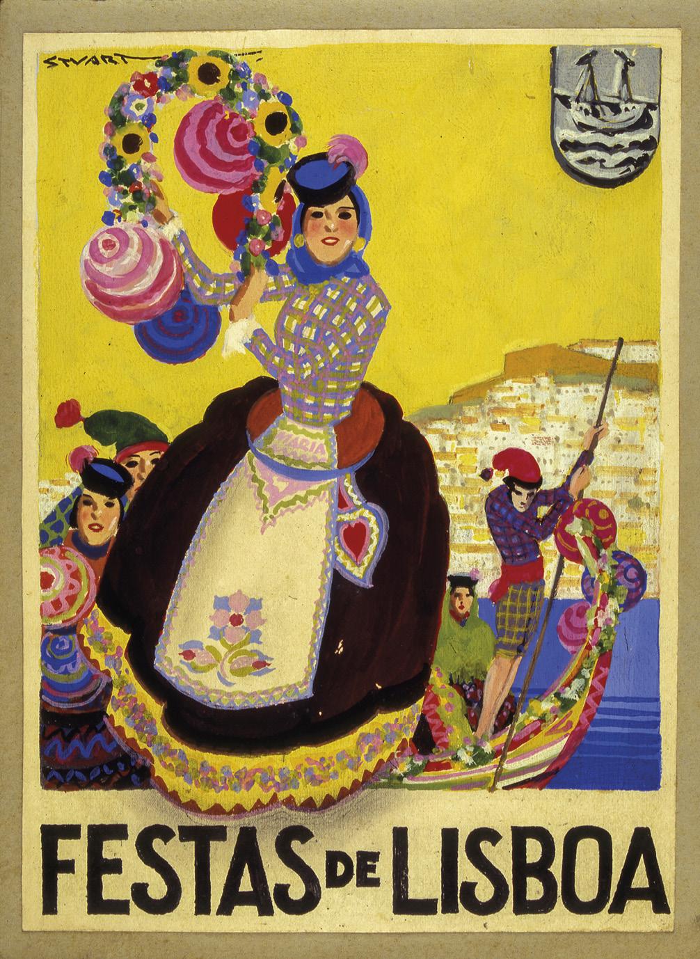 Festas de Lisboa, Guache sobre papel, Stuart de Carvalhais, 1934, MC.PIN.101