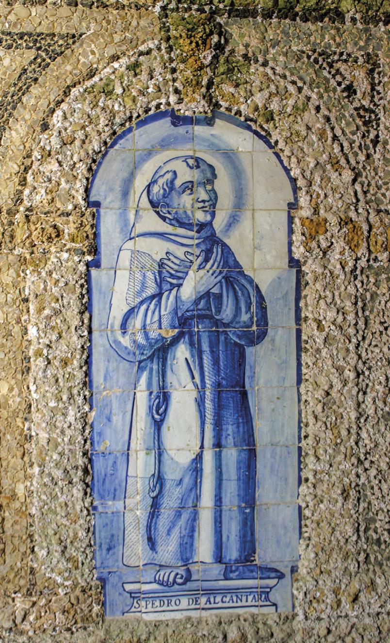São Pedro de Alcântara, painel de azulejos no Convento da Arrábida. Foto MSA, 2018.