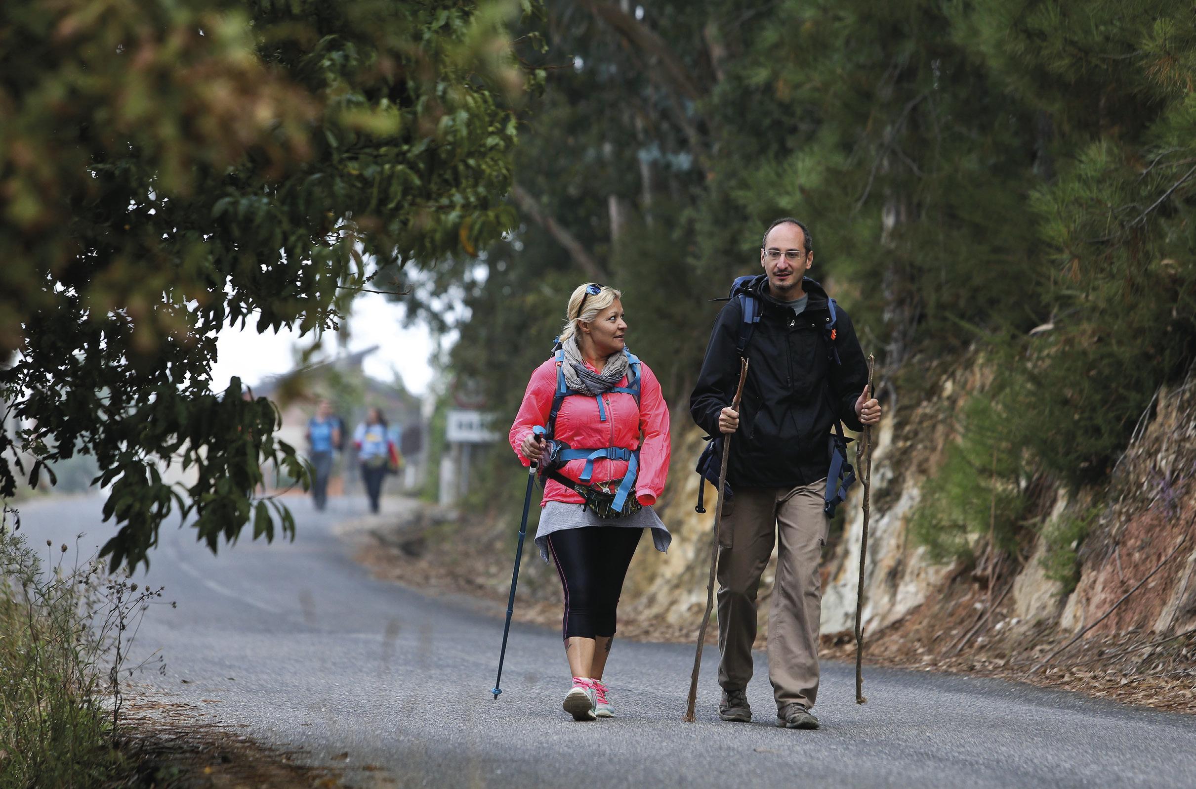 Peregrinos percorrem o caminho alternativo para Fátima apenas com uma mochila às costas, longe do stress e perigo da Estrada Nacional 1, Coimbra, 10 de outubro de 2016. PAULO NOVAIS/LUSA