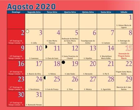Calendário Antoniano Agosto 2020