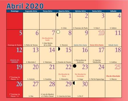 Calendário Antoniano Abril 2020