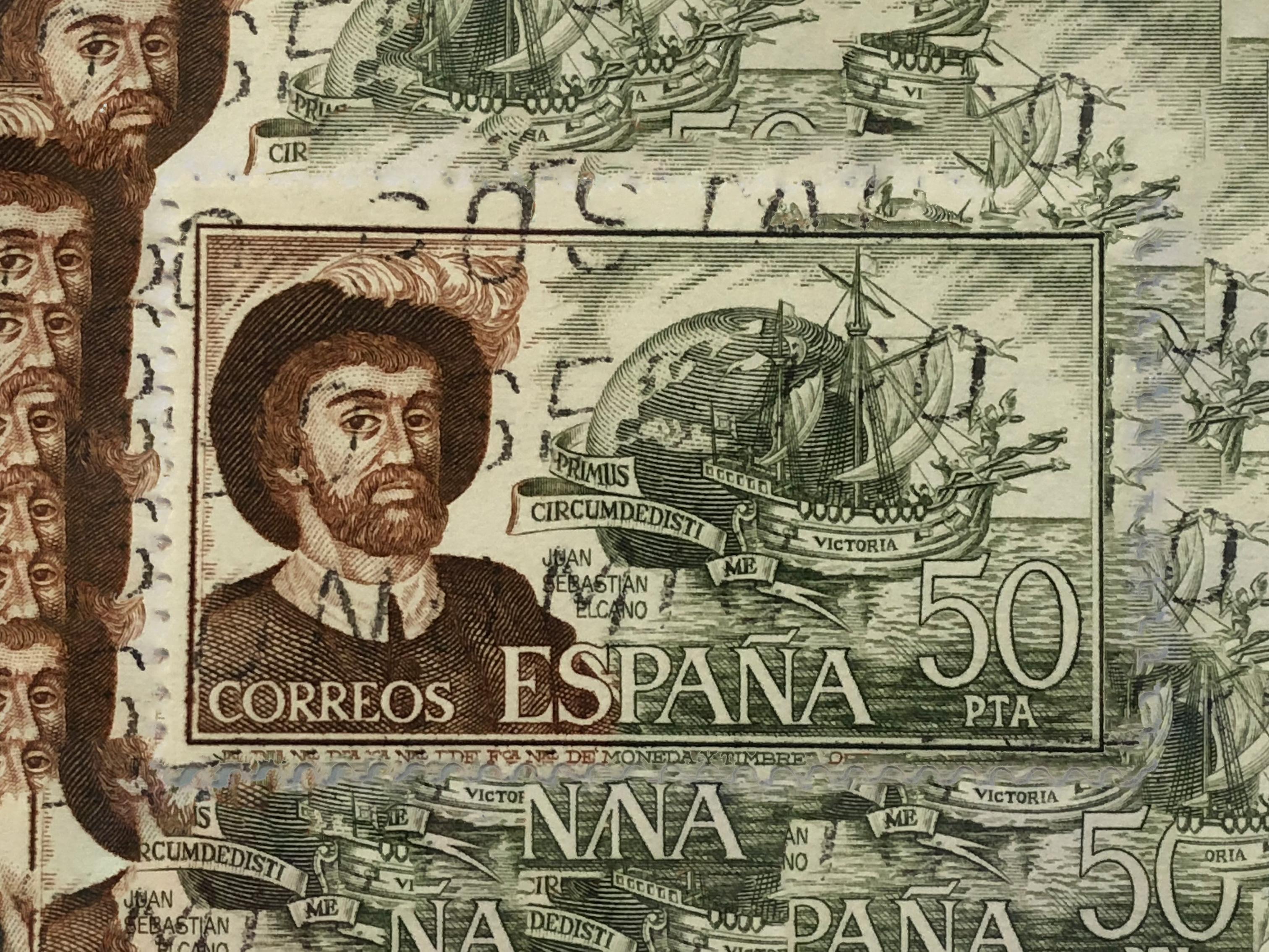 Selo Postal Correios de Espanha de Juan Sebastian Elcano Primus circumdedisti me.
