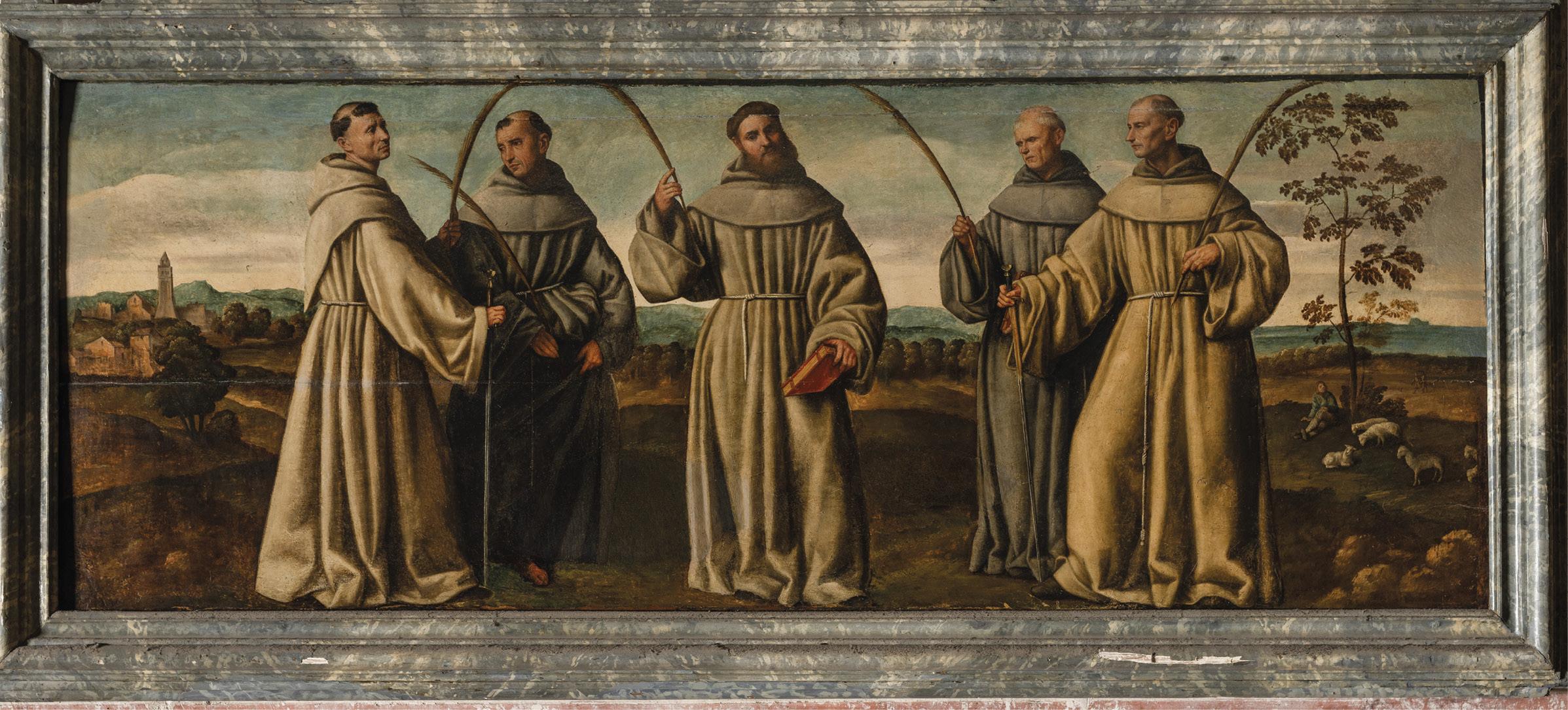 Mártires de Marrocos. Santa Maria Gloriosa dei Frari, Veneza, Itália. Painel de Bernardino Licinio, 1524.