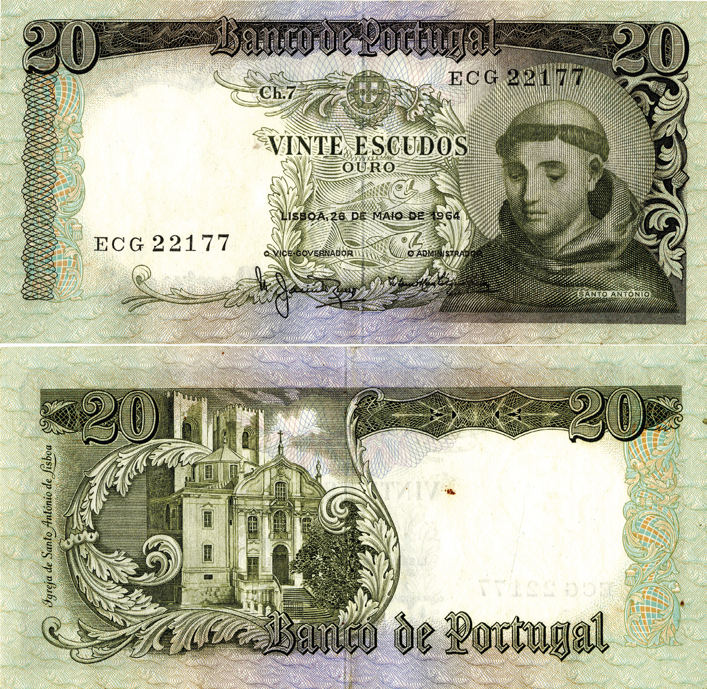 A nota de vinte escudos com Santo António