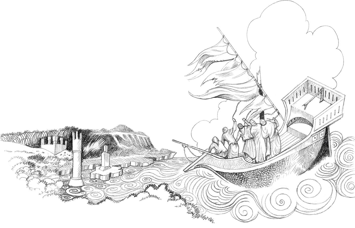 Santo António Naufrágio na SIcília, ilustração de Luca Salvagno