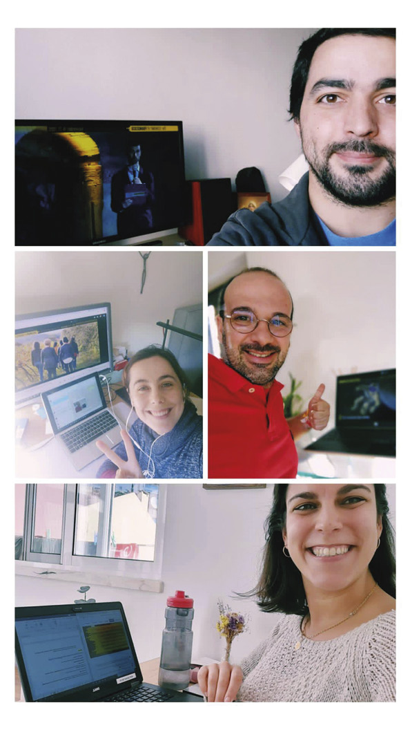 Jovens portugueses da Economia de Francisco participando num encontro online: Diogo B. Pereira, Rita Sacramento Monteiro, Ricardo Zózimo e Luísa Gonçalves.