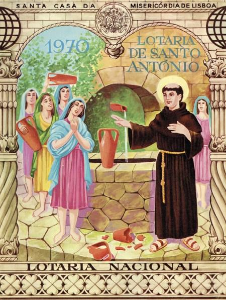 Folheto desdobrável da lotaria de Santo António, 1970. MLSA.IMP.1598
