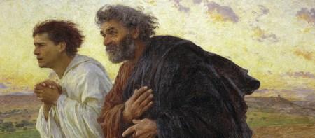 Os apóstolos João e Pedro, alertados pela apóstola Maria Madalena, correm ao sepulcro e encontram-no vazio. Pintura de Eugene Burnand, 1898. Foto de Erich Lessing.