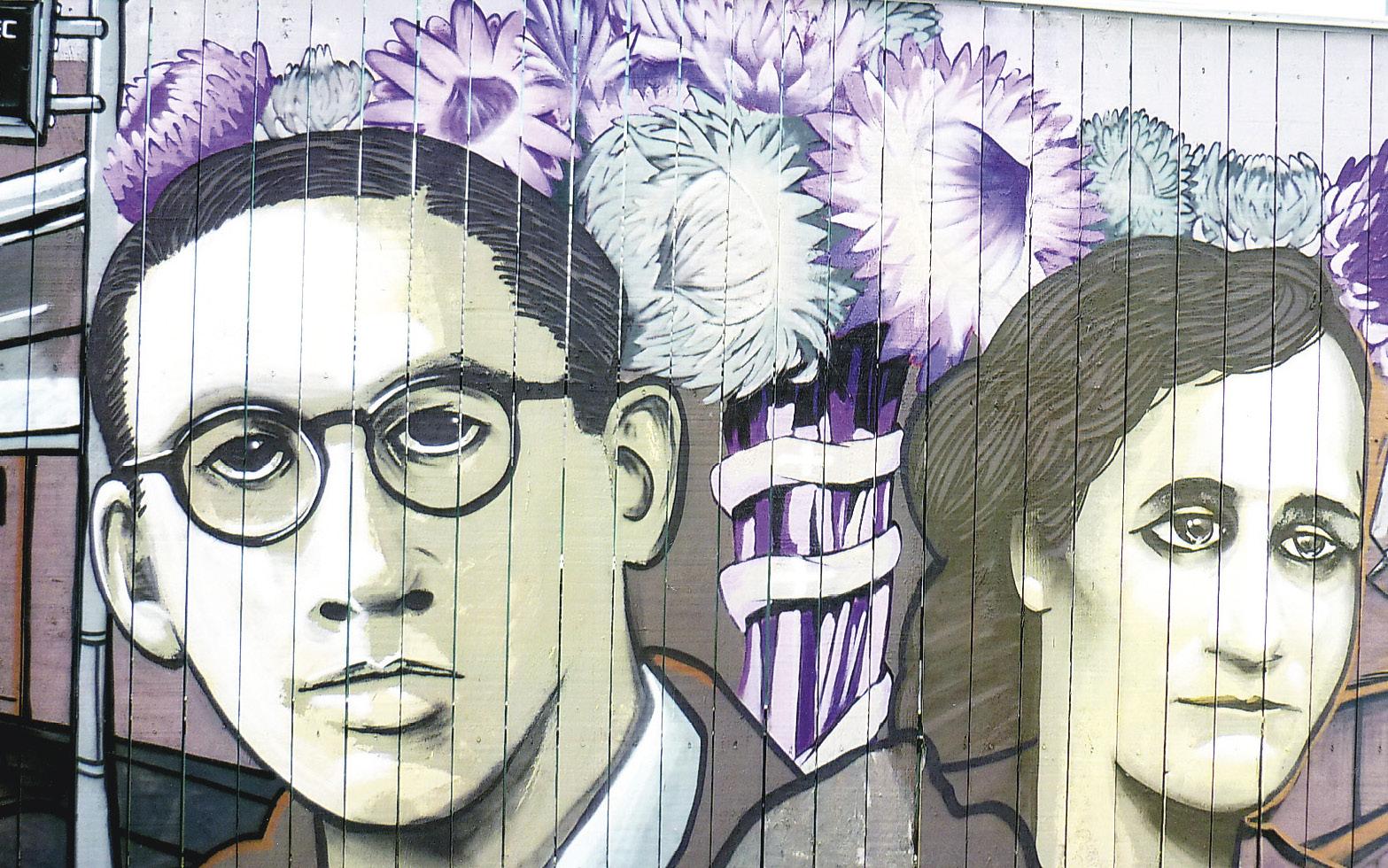 Marcel Callo e a irmã Madeleine num mural pintado em Rennes.