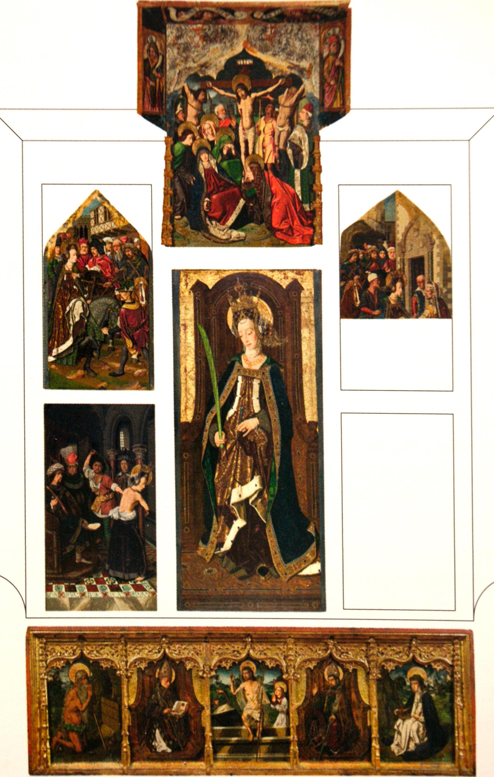 Retábulo de Santa Engrácia, da Igreja de São Pedro de Daroca, Saragoça, Espanha. Este retábulo, da autoria de Bartolomé Bermejo (cerca de 1472-1474) foi desmembrado e espalhado pelos quatro cantos do mundo.