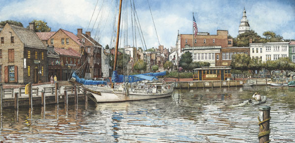 Annapolis City Dock Santoleri limited Edition Print from Watercolor Painting