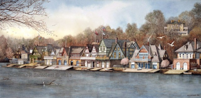 Boathouse Row 7 painting by N. Santoleri © 2013