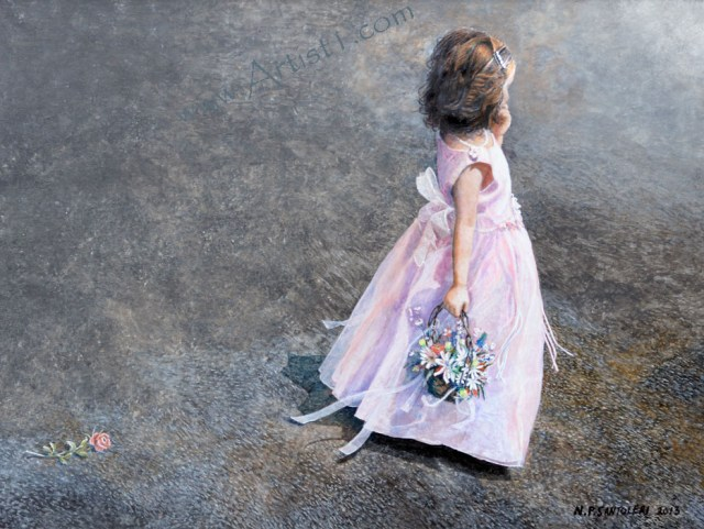 Open Edition Print of Flower Girl Acrylic Painting by Santoleri
