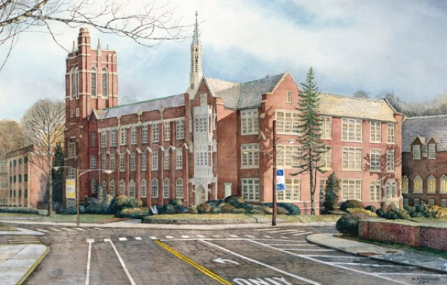 LaSalle University by Santoleri limited edition prints from watercolor painting