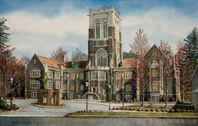 Lehigh University watercolor by N. Santoleri