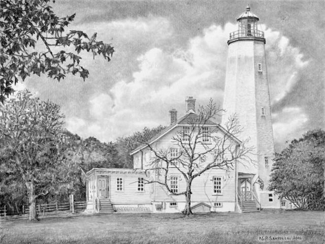 Sandy Hook Lighthouse - Pencil Drawing By N. Santoleri