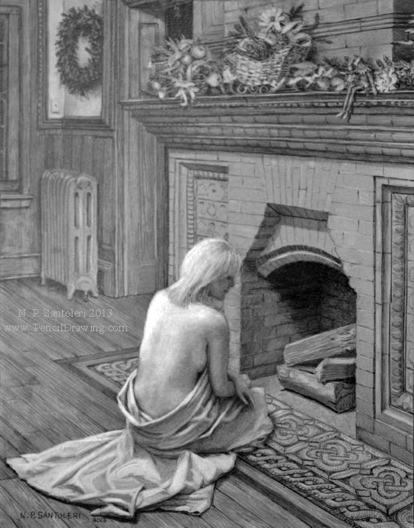 Prints of Waiting For Santa pencil drawing by Santoleri 2013