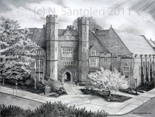 University Art Prints - West Chester University - pencil by Santoleri University Prints