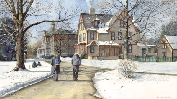 university art prints of Winter Walk to Class by Santoleri