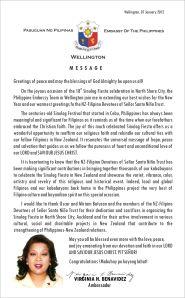 Sinulog 2012 Message from Ambassador Virginia Benavidez