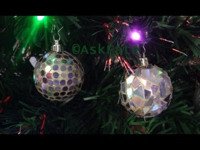 Disco Ball Ornament and Mosaic Ornament out of Recycled CD'S – DIY