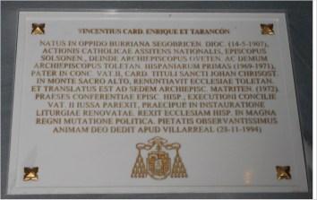 Nicho cardenal Tarancón, Catedral Primada