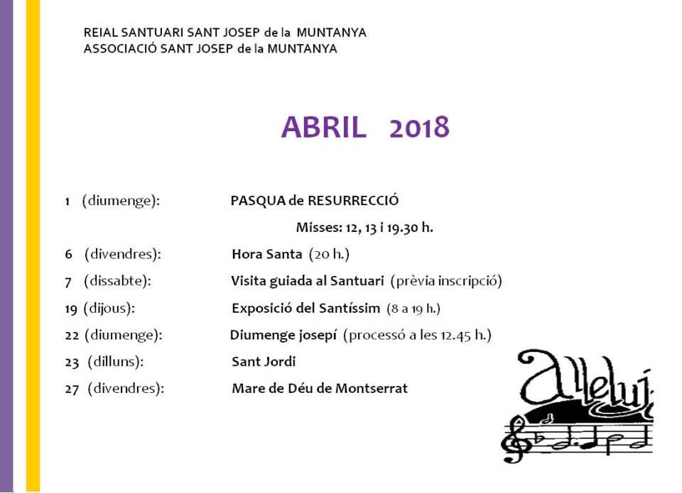 reial santuari sant josep de la muntanya activitats abril
