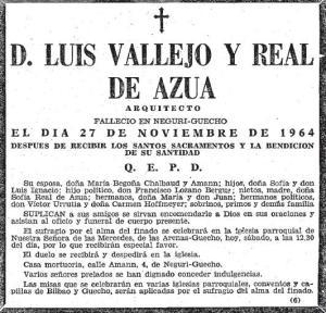 Esquela de Luis Vallejo Real de Asúa