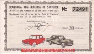 Billete rifa 1964 (parroquias) sept