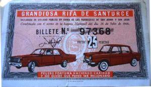 Billete rifa julio (parroquias) 1966