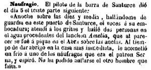 naufragio Amelia 1858